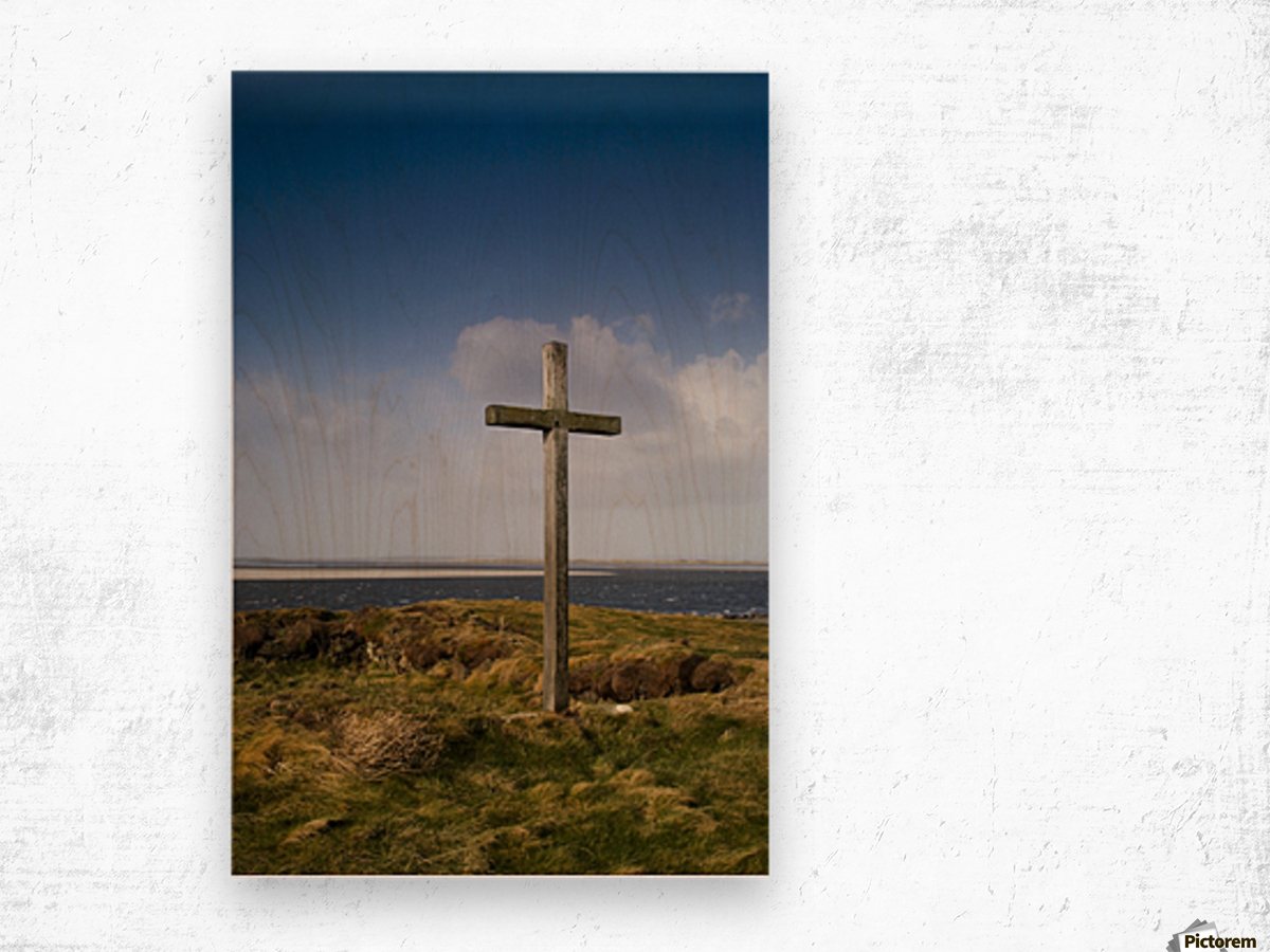 Grave Site Marked By A Cross On A Hill Wood print