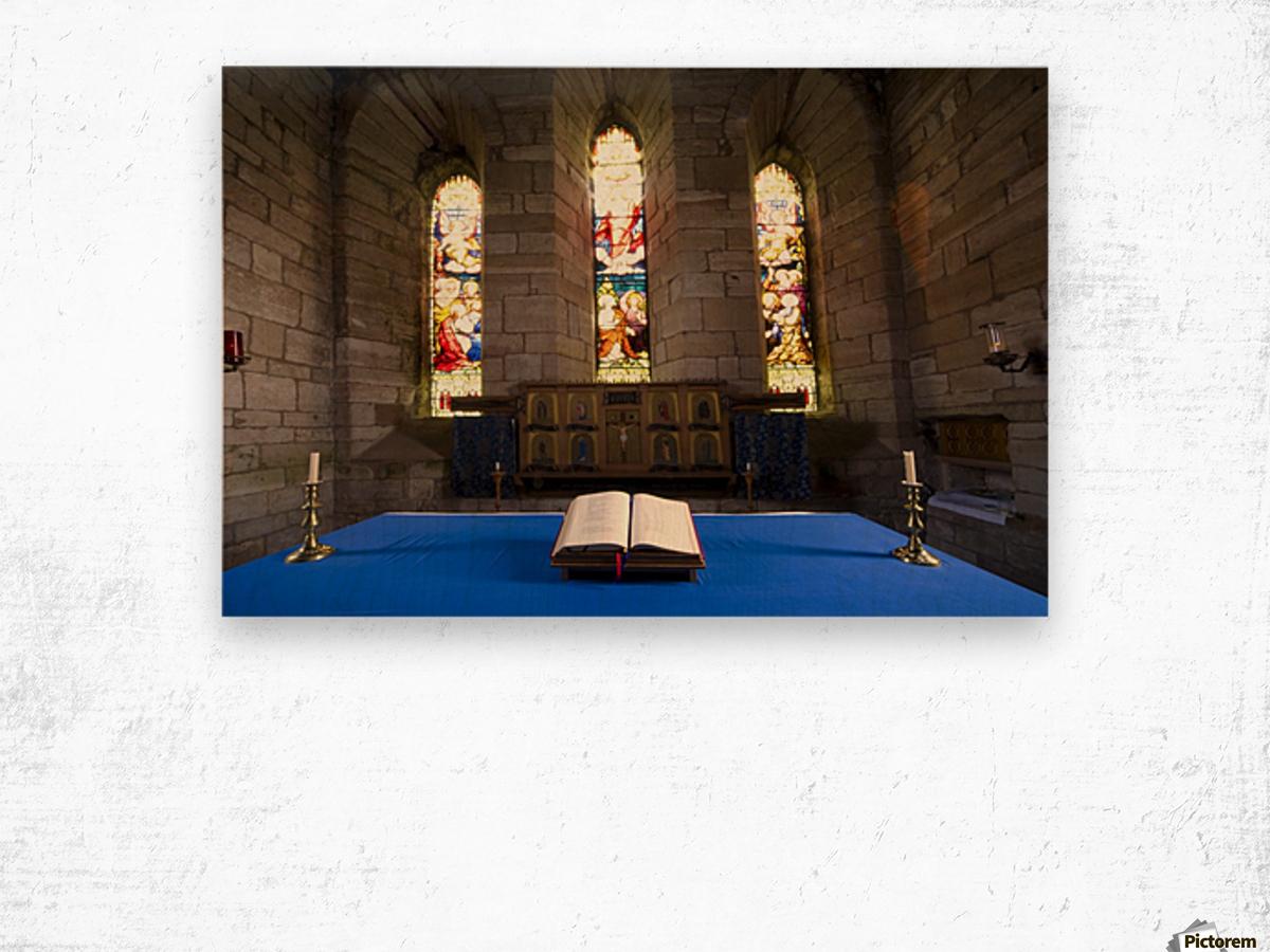 Church And Open Bible, Holy Island, Bewick, England Wood print