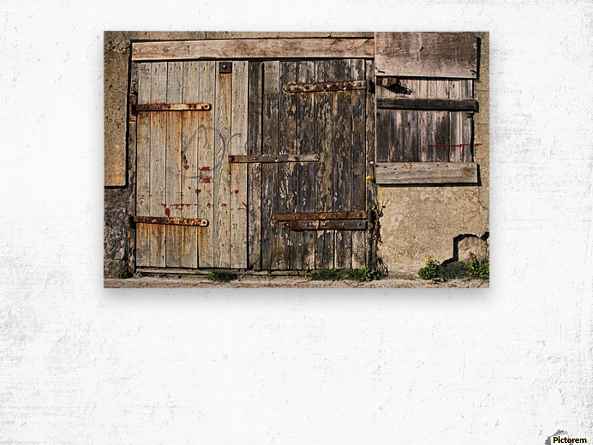 Old Wooden Door Of Building Wood print
