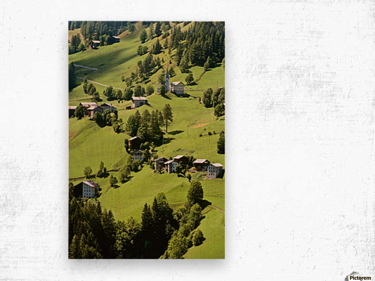 Mountain Village In Dolomites, Italy Wood print