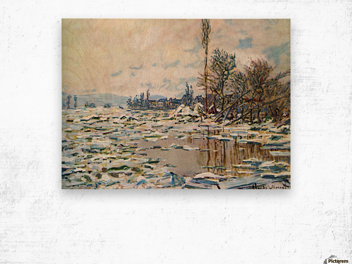 Break Up of Ice by Monet Wood print