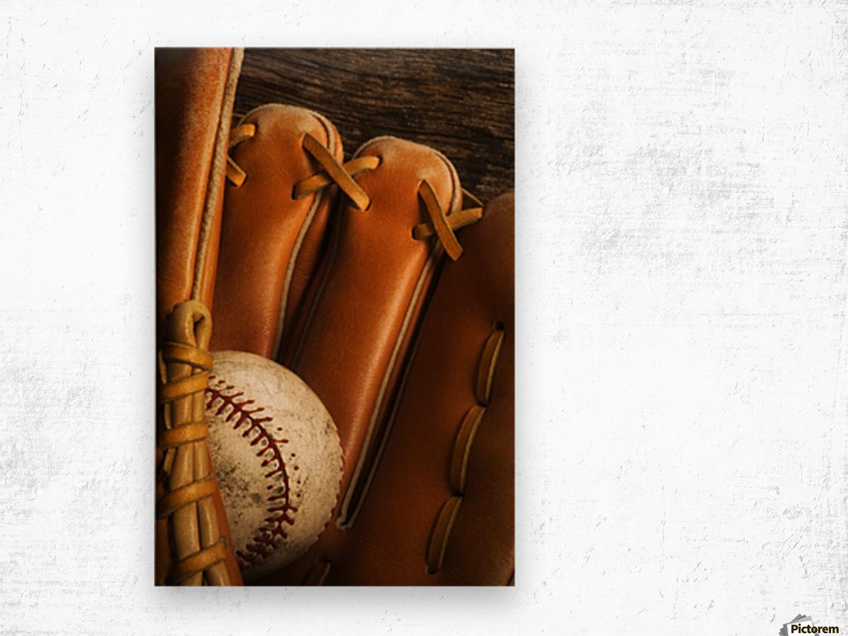 Baseball Glove And Baseball Wood print