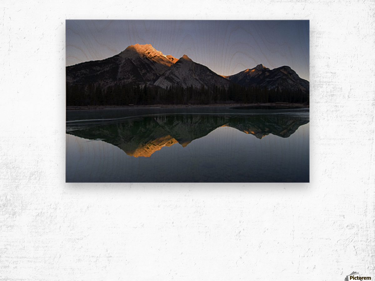 Mirror Image Of A Mountain In Water, Mount Lorette, Kananaskis, Alberta, Canada Wood print