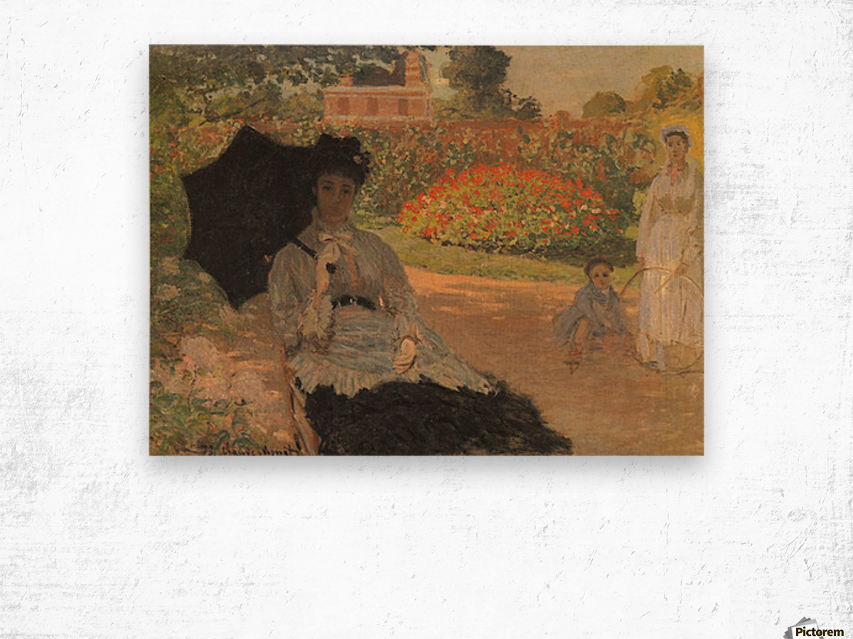 Camille in the garden with Jean and his nanny by Monet Wood print
