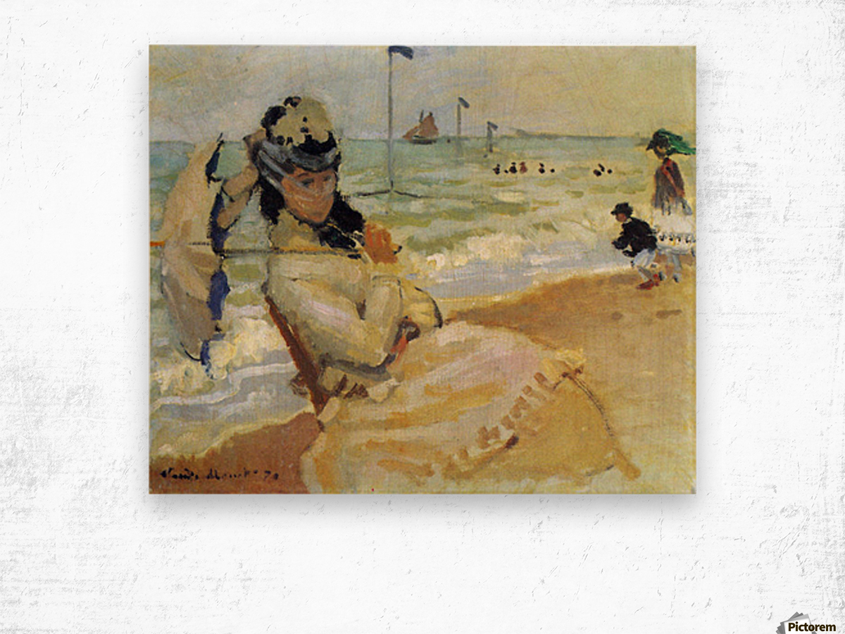 Camille on the beach at Trouville by Monet Wood print