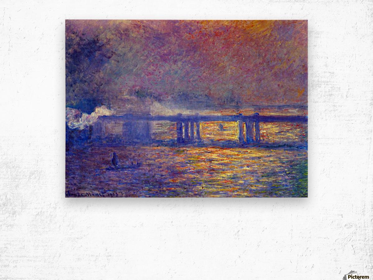 Charing cross bridge by Monet Wood print