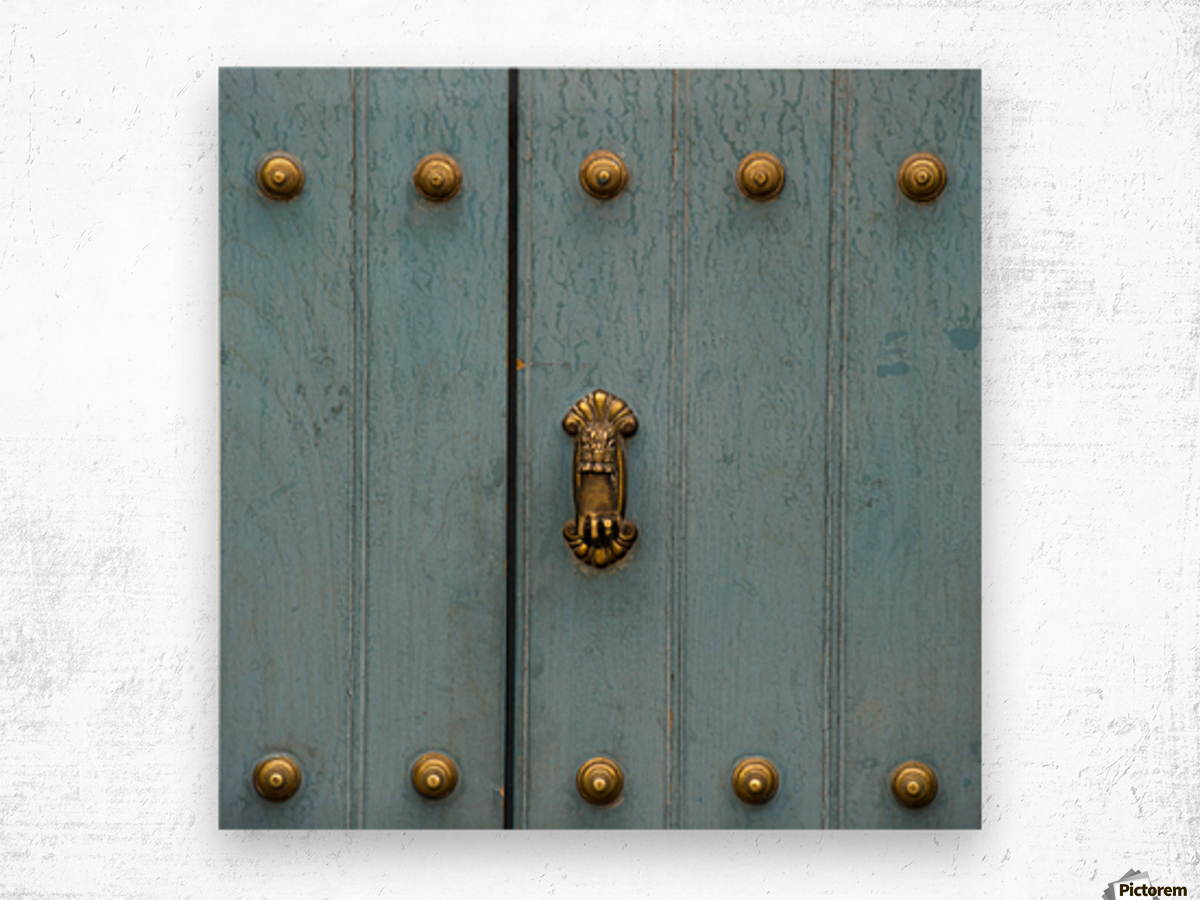 A Blue Door With Brass Decorative Knobs; Cusco, Peru Wood print