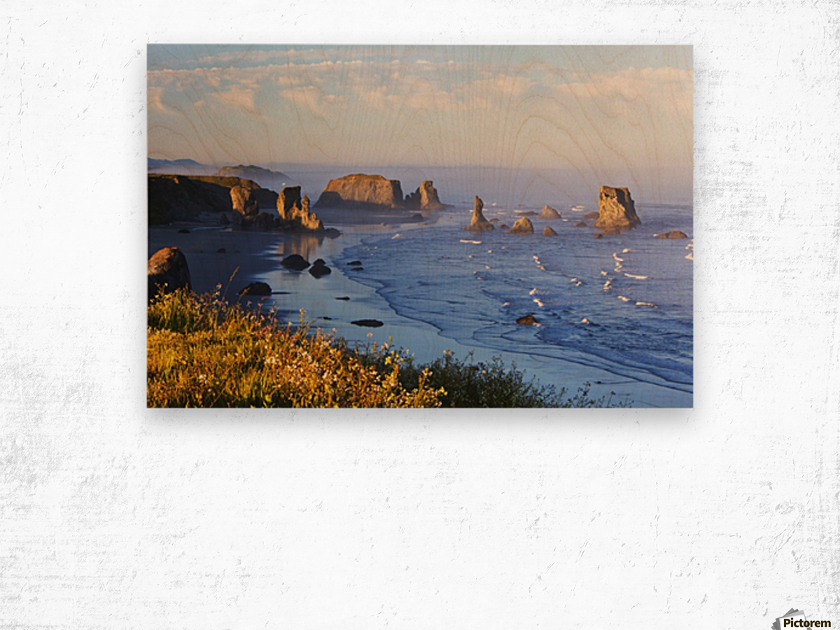 Fog Covers Rock Formations Along The Coast At Bandon State Park; Bandon, Oregon, United States of America Wood print