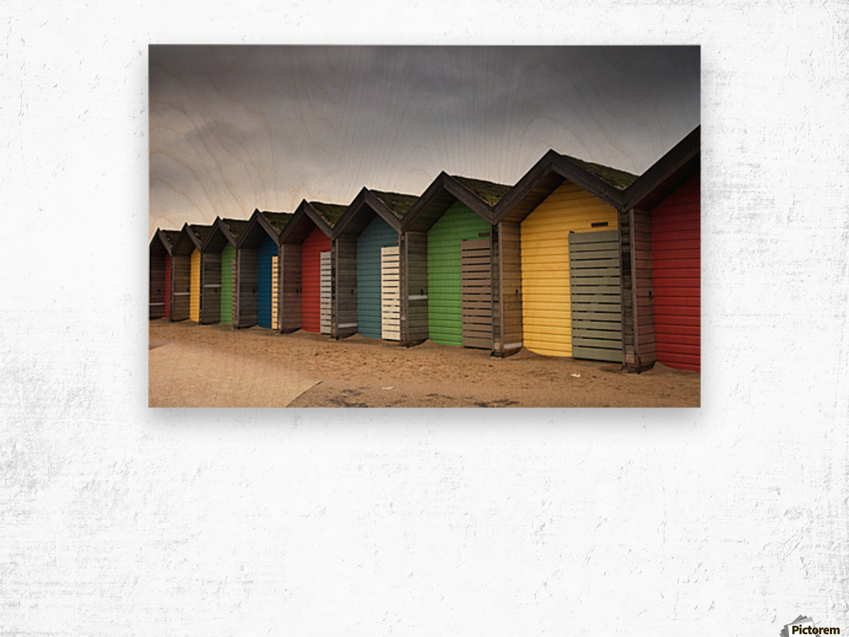 Colourful Beach Huts; Blythe, Northumberland, England Wood print