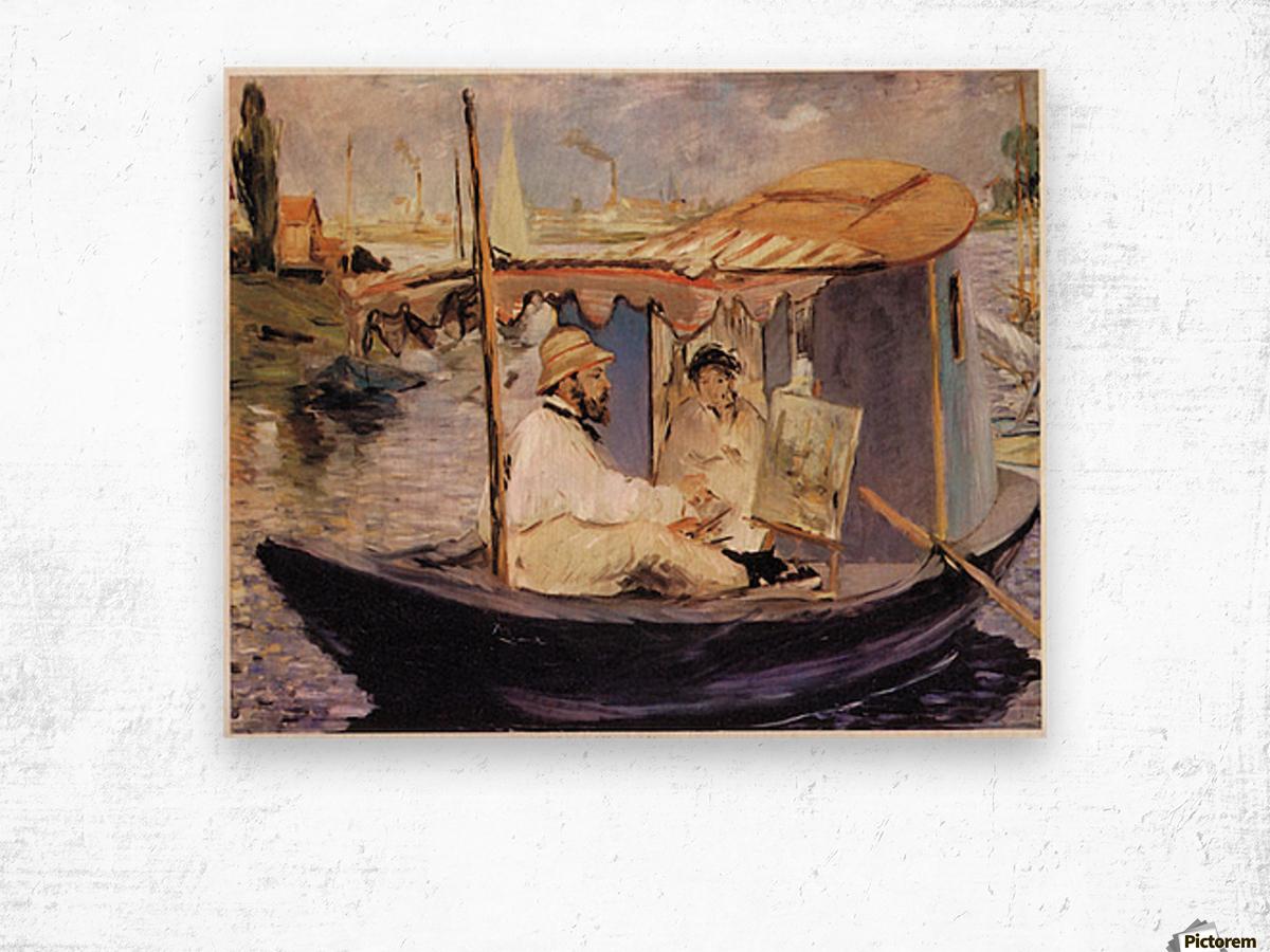 Claude_Monet_dans_son_bateau_atelier_1874 by Manet Wood print