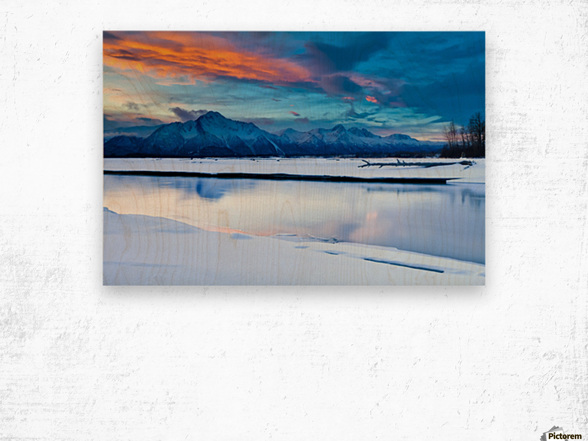 Scenic View At The Eklutna Tailrace Off The Old Glenn Highway In The Matanuska-Susitna Valley, Southcentral Alaska, Hdr Wood print
