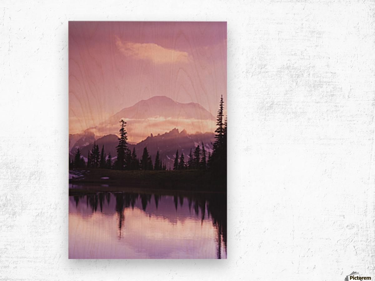 Sunset and a small reflecting pond near tipsoo lake mt. rainer national park near seattle;Washington united states of america Wood print
