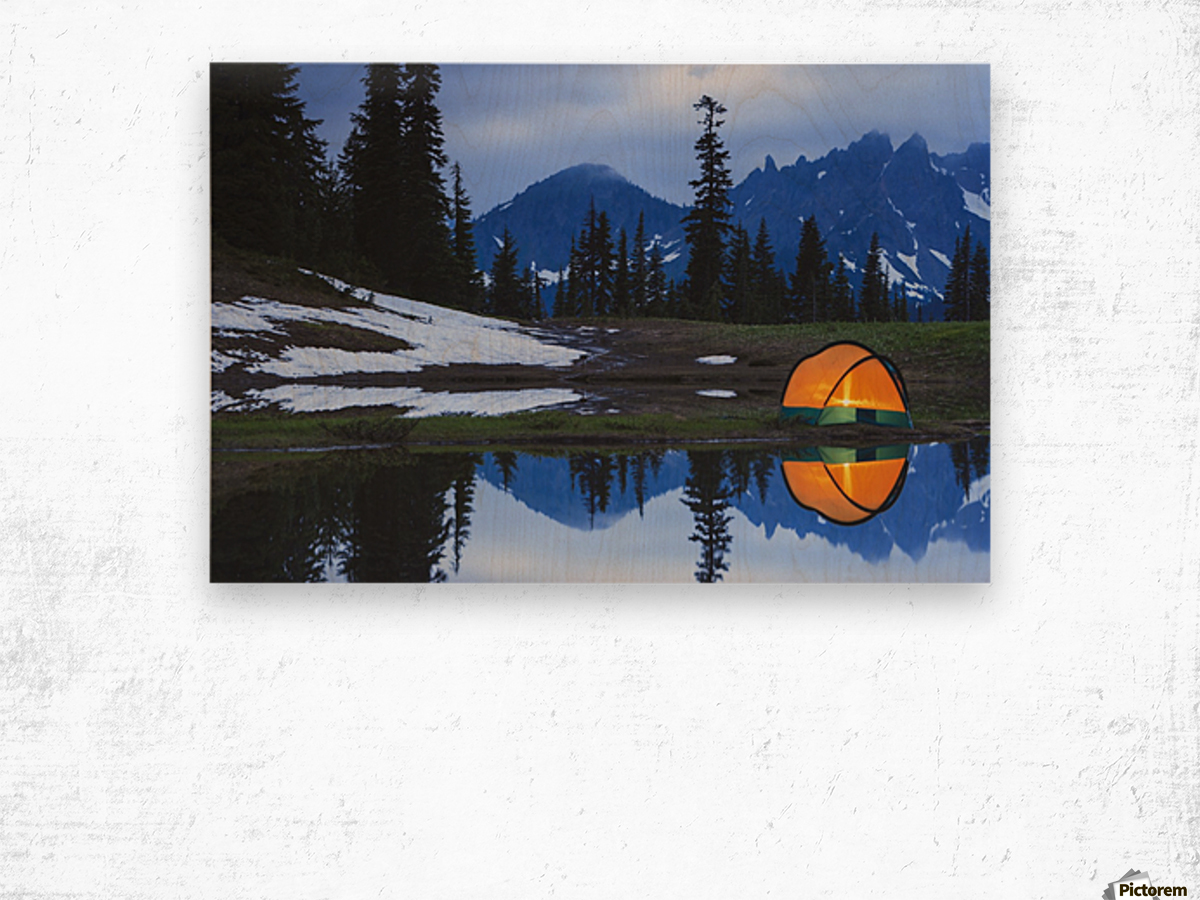 Camping tent at sunset by a small reflecting pond near tipsoo lake mount rainer national park near seattle;Washington united states of america Wood print