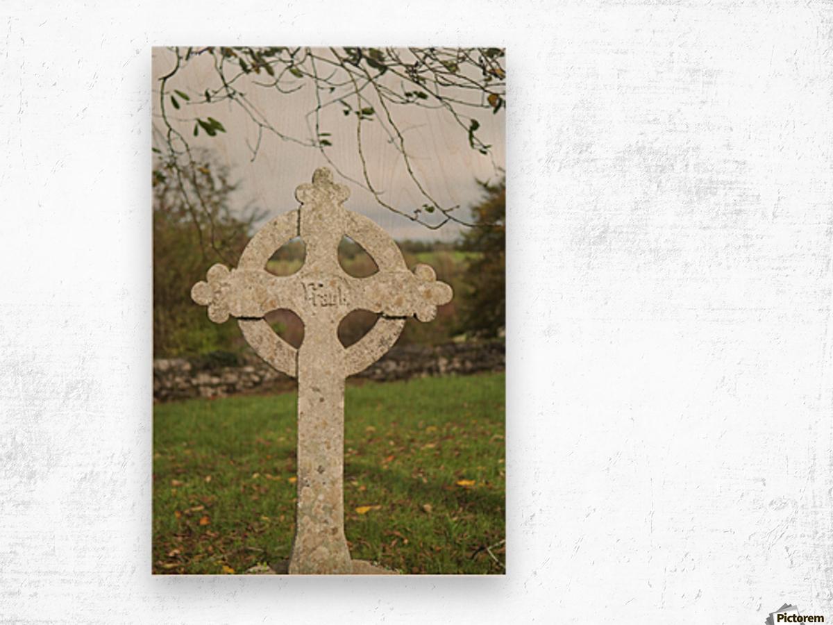 A celtic cross tombstone;Ireland Wood print