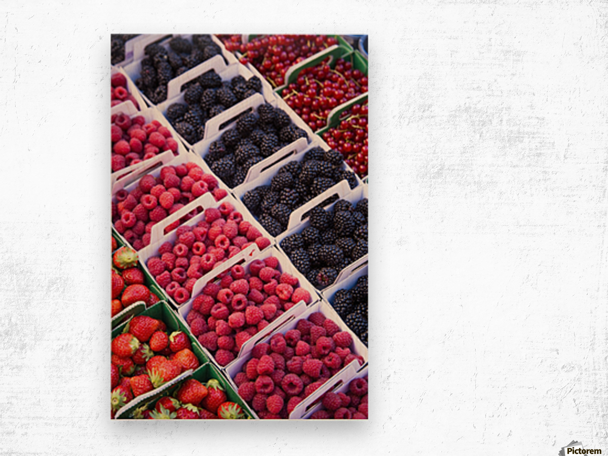Berries in boxes at a food market;Sault vaucluse provence france Wood print