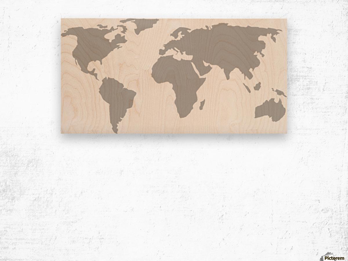 World Map Grey Style Wood print