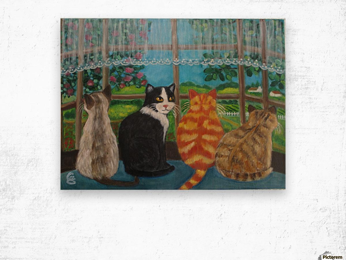 cats in window Wood print