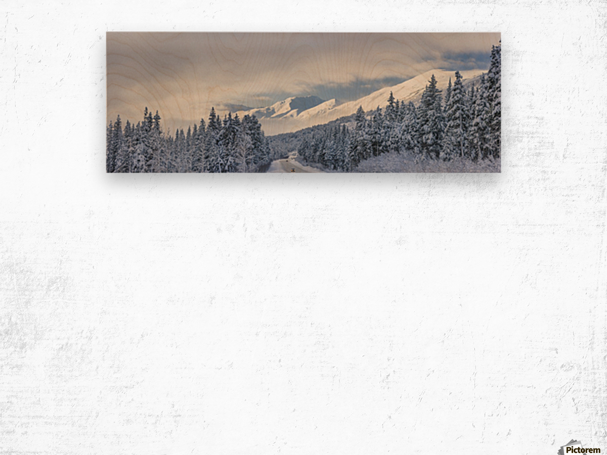 Clouds Clearing Over Seward Highway From The Kenai Mountains Above Turnagain Pass After A Winter Snow Storm, Fresh Snow In The Trees, Early Morning Sun, Turnagain Pass, Chugach National Forest, Southcentral Alaska, Usa. Wood print