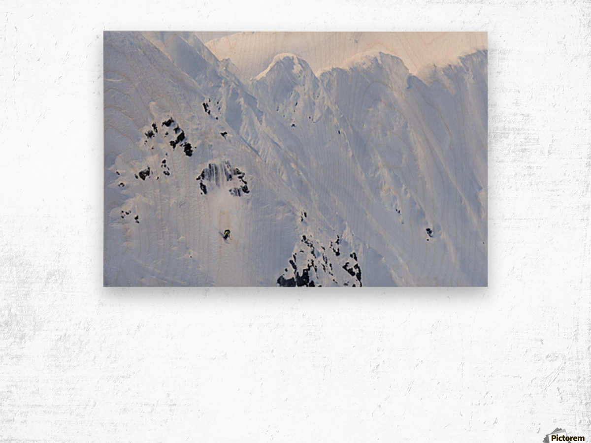 Backcountry Skiing In The Chugach Mountains In Late Winter; Southcentral Alaska, United States Of America Wood print