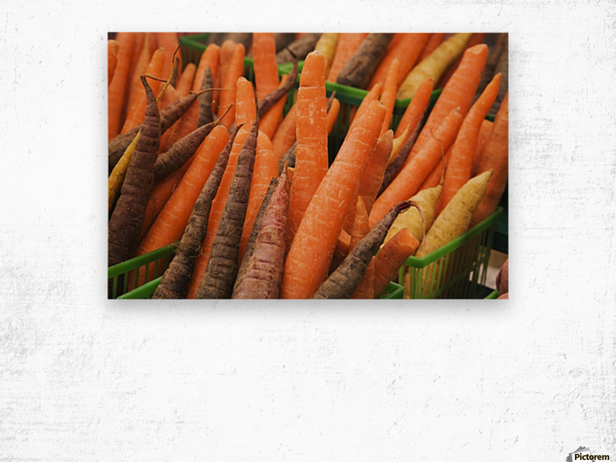 Green plastic baskets with freshly picked organic carrots (Daucus carota) for sale at an outdoor market, Byward Market; Ottawa, Ontario, Canada Wood print