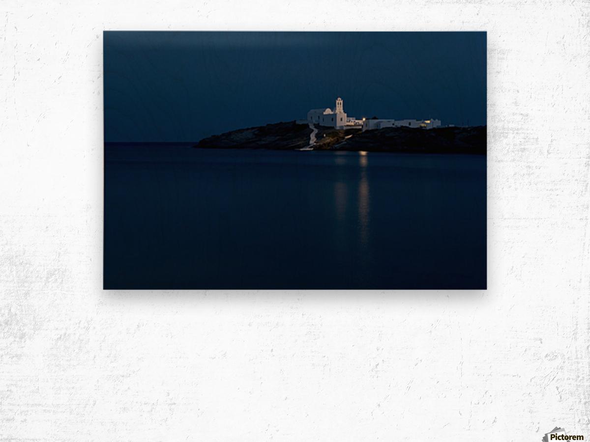 The Chrysopiyi Monsastery in Southeastern Sifnos at dusk; Sifnos, Cyclades, Greek Islands, Greece Wood print