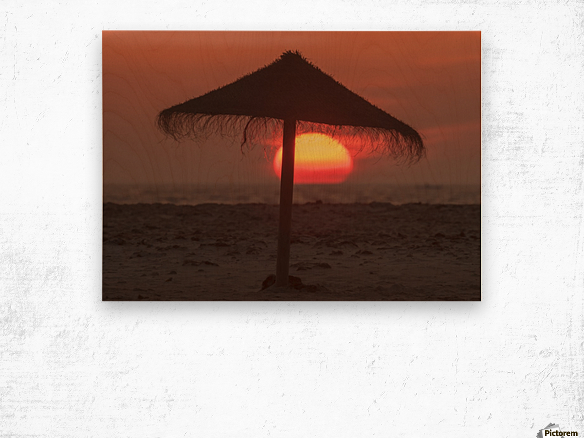 34f9c3d9fd Silhouette of a beach umbrella on the beach with a colourful sun sinking  into the horizon over the ocean; Tarifa, Cadiz, Andalusia, Spain - ...