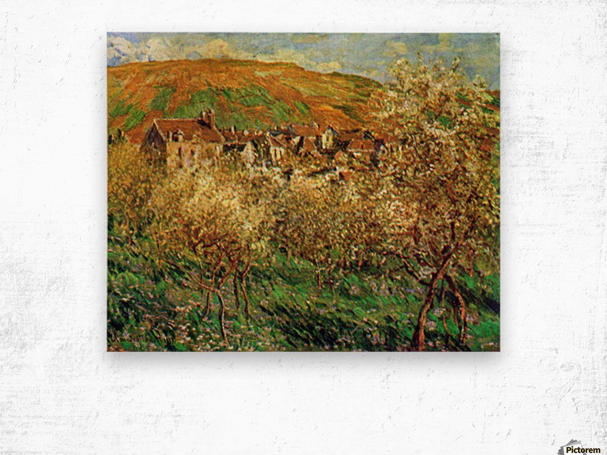 Flowering apple trees by Monet Wood print