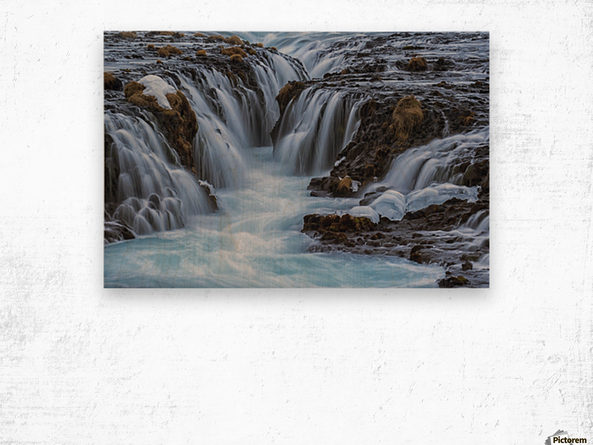 Turquoise water flowing over rocks into a river; Bruarfoss, Iceland Wood print