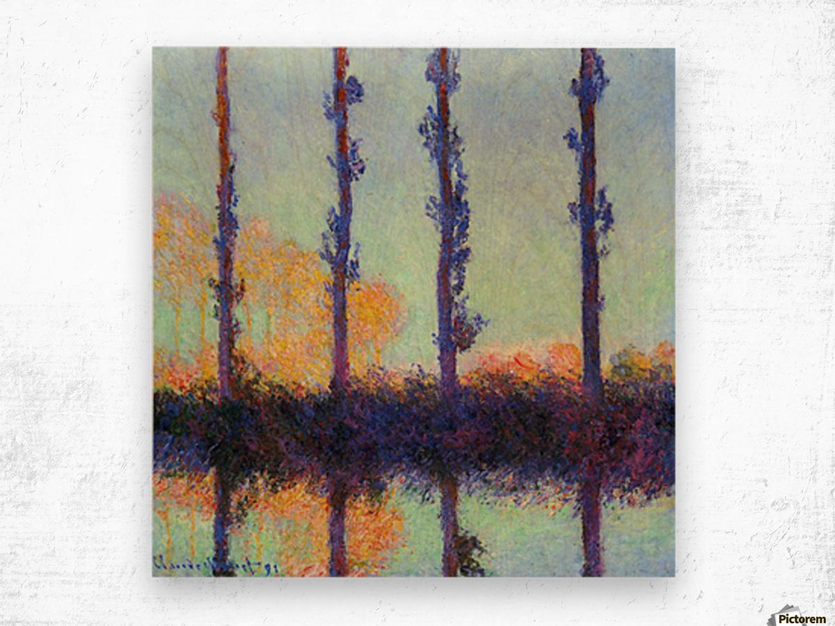Four poplars by Monet Wood print