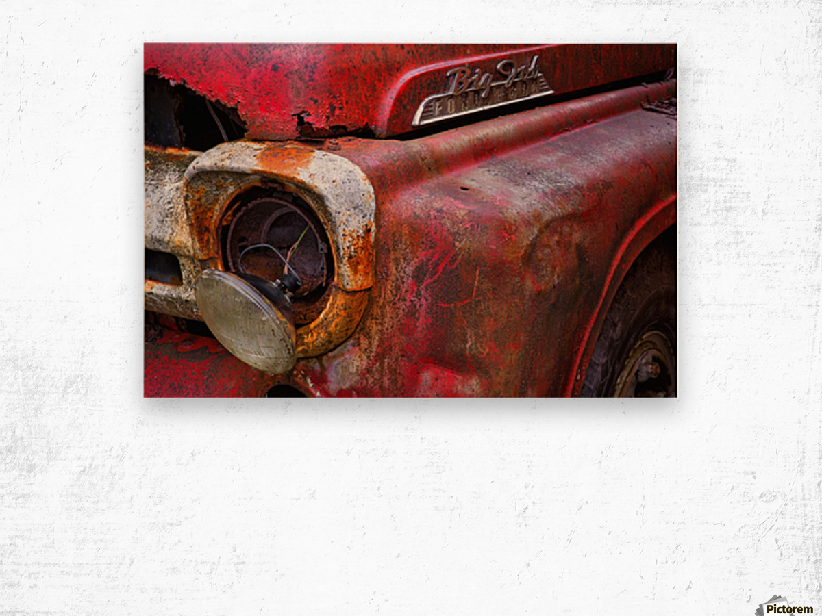 Detail of fire truck that belonged to Kodiak Volunteer Fire Department; Kodiak, Alaska, United States of America Impression sur bois
