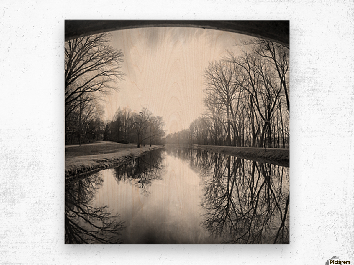 The Canal, Black and White Wood print