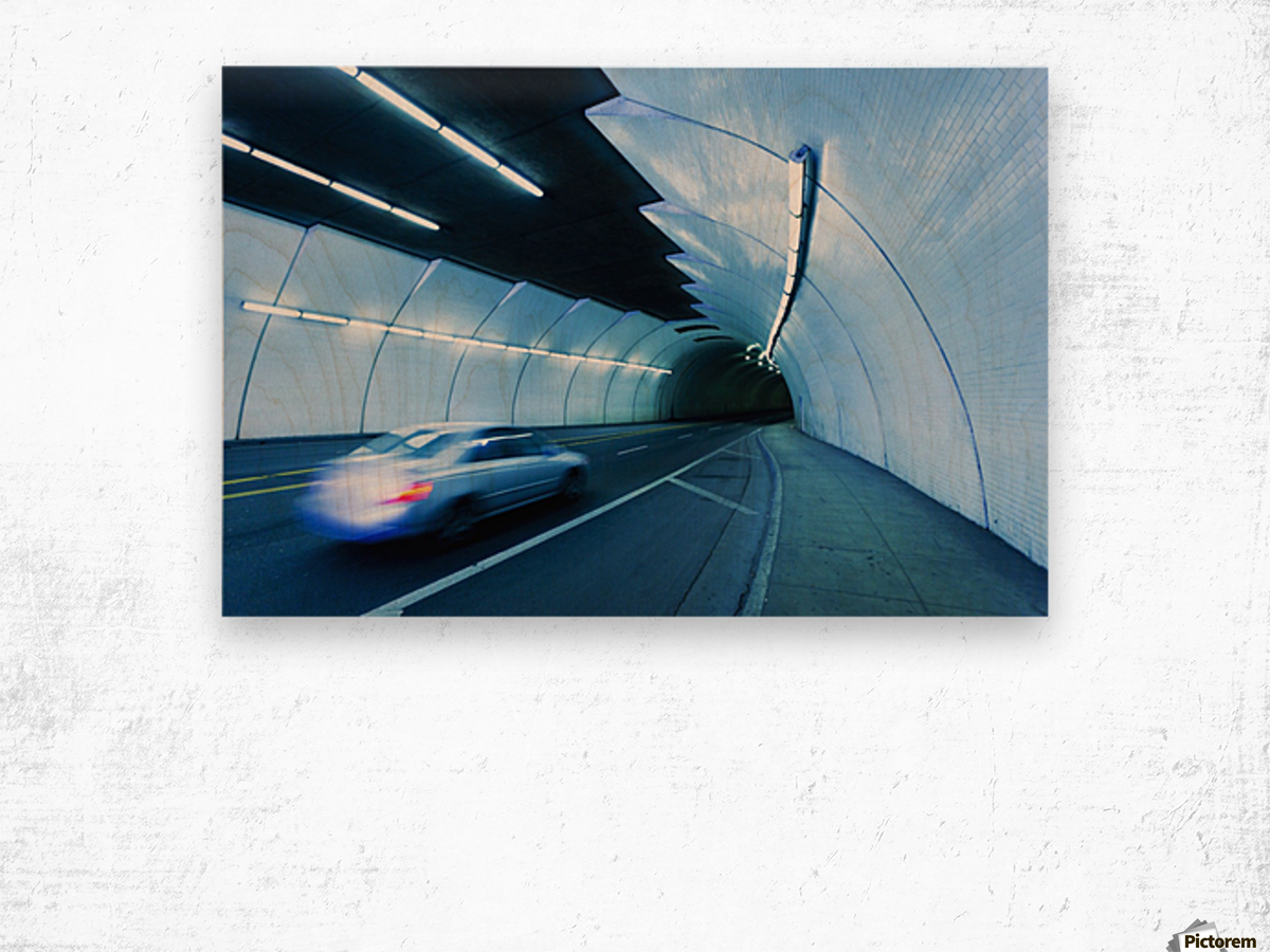 Urban Tunnel, Car moving with Motion Blur Wood print
