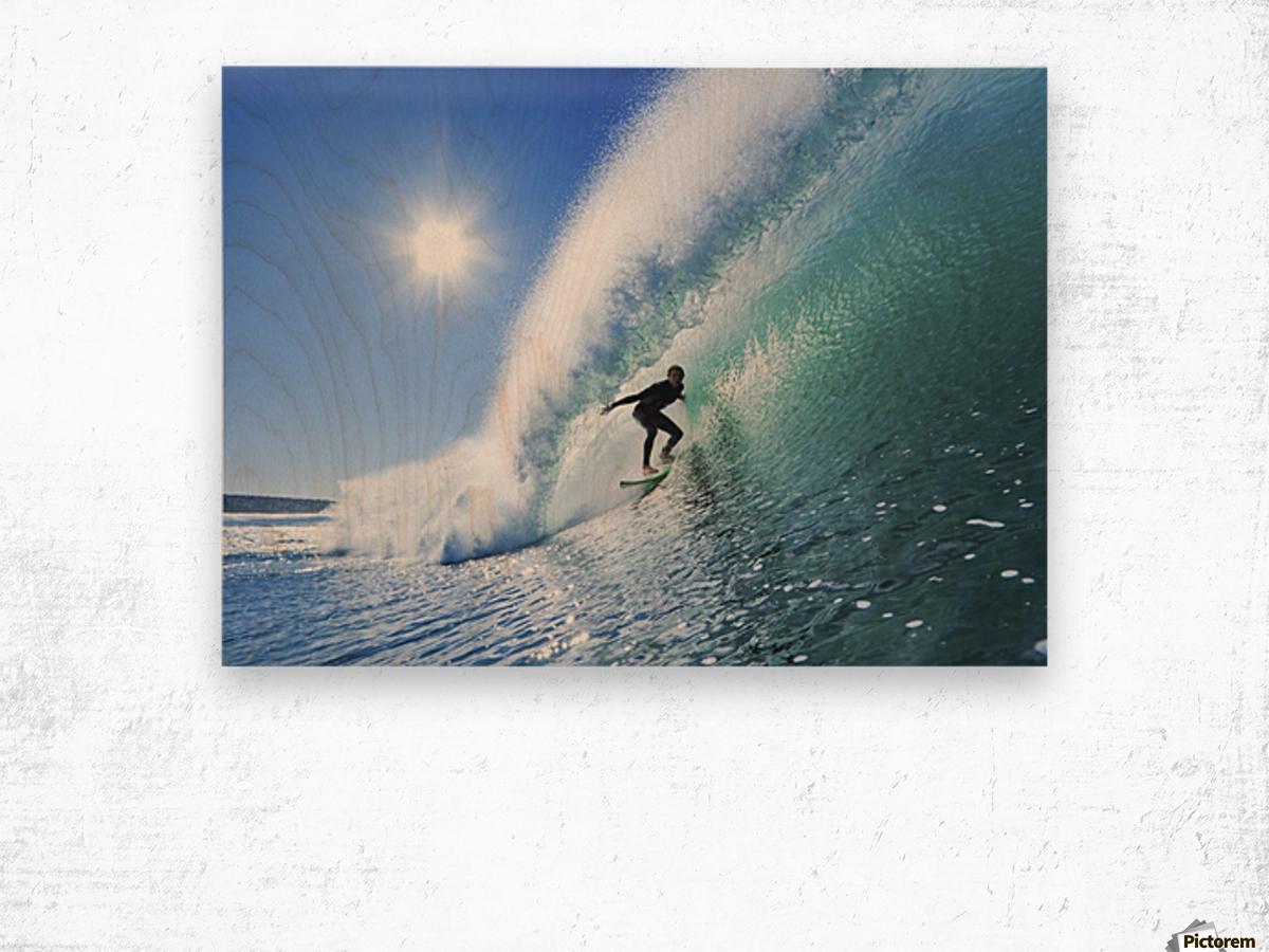 Surfer On Blue Ocean Wave Wood print