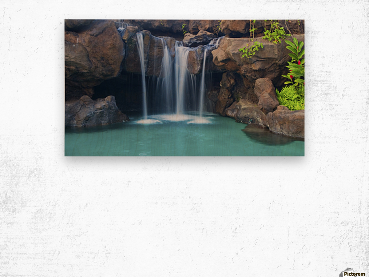 Waterfall into Resort Pool Wood print