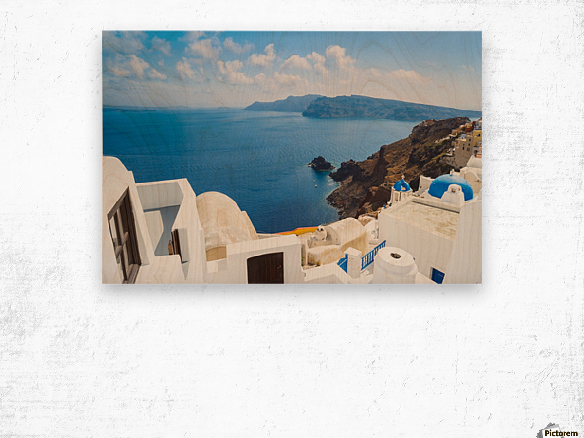 Santorini Island, Greece, Beautiful View of Blue Ocean and Traditional Dome Church Architecture Wood print