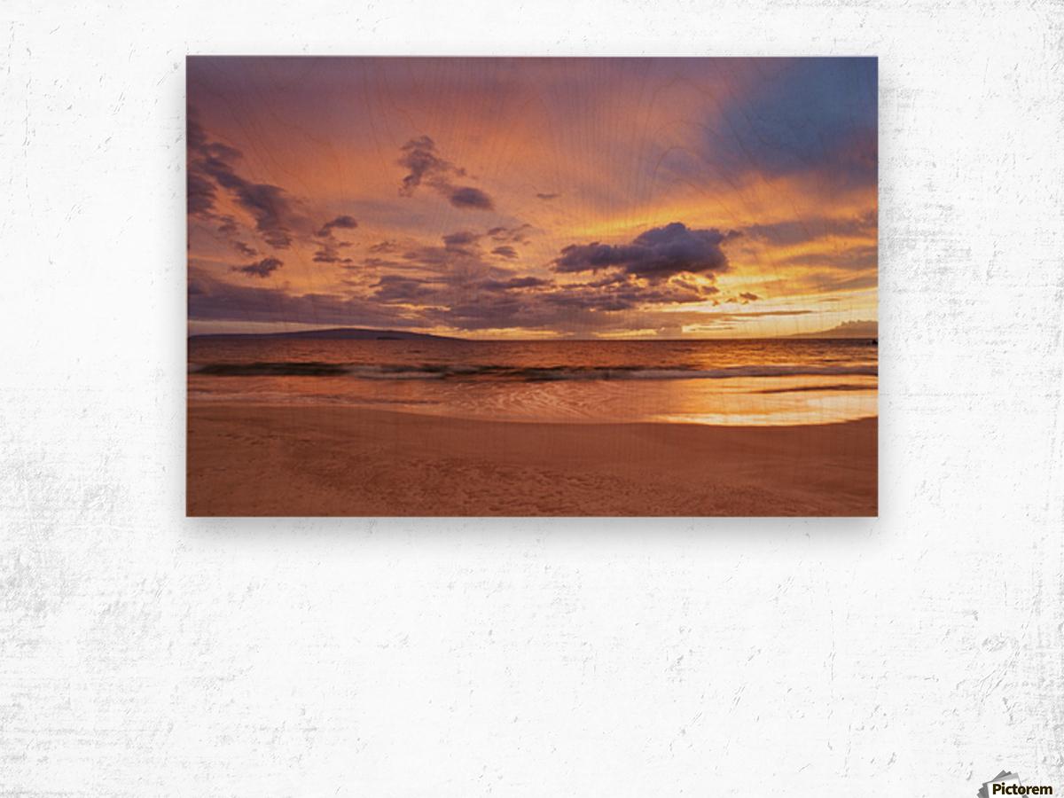 Sunset on Hawaii Beach Wood print