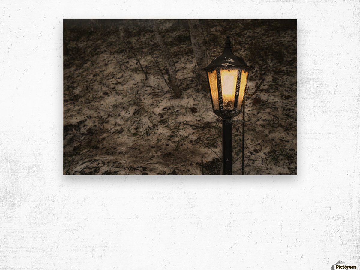 Illuminated lamp post against a stone wall; Beamish, England ... for Stone Lamp Post  585ifm