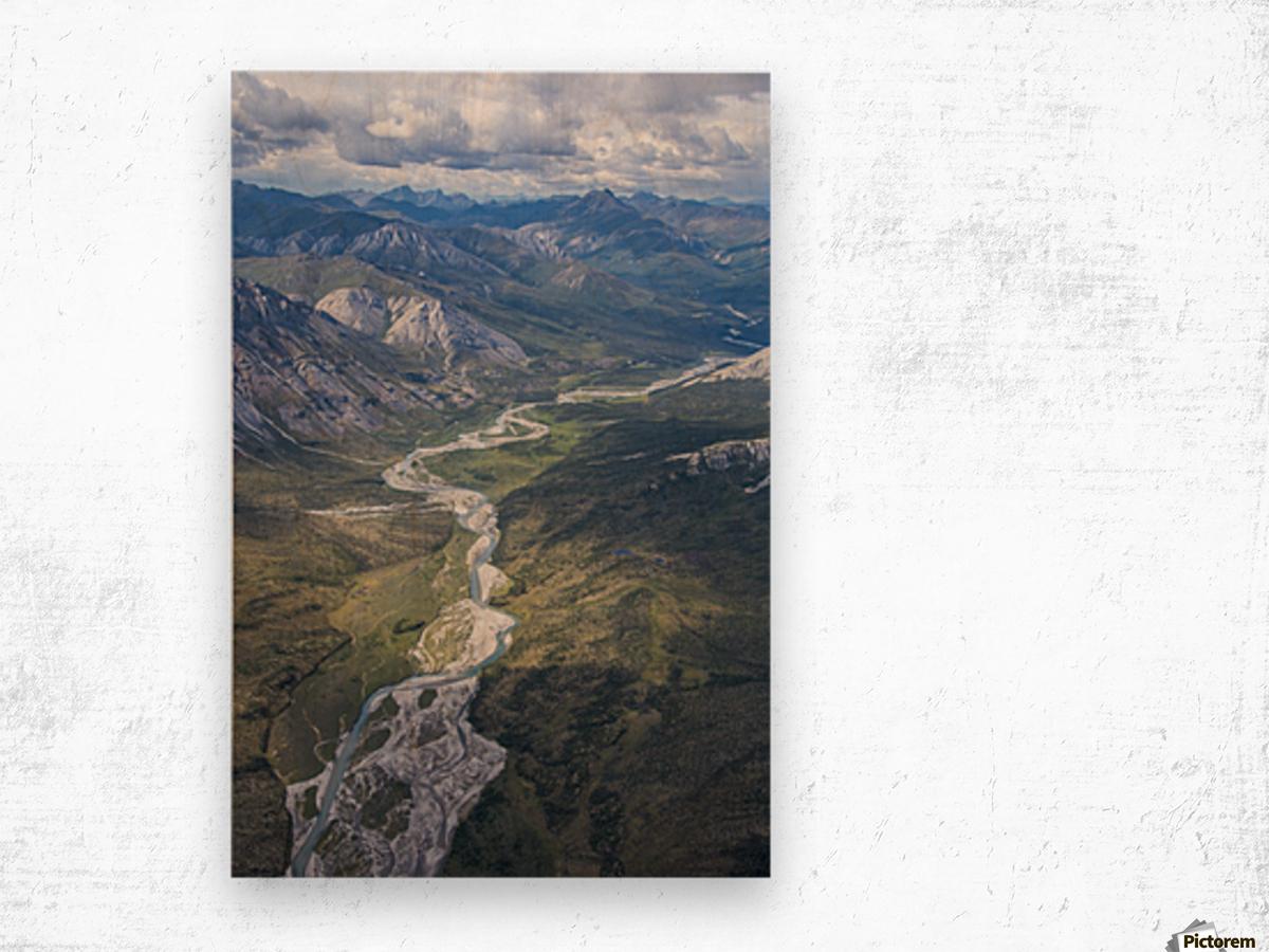 Aerial View of the Brooks Range in summer, ANWR, Alaska Wood print