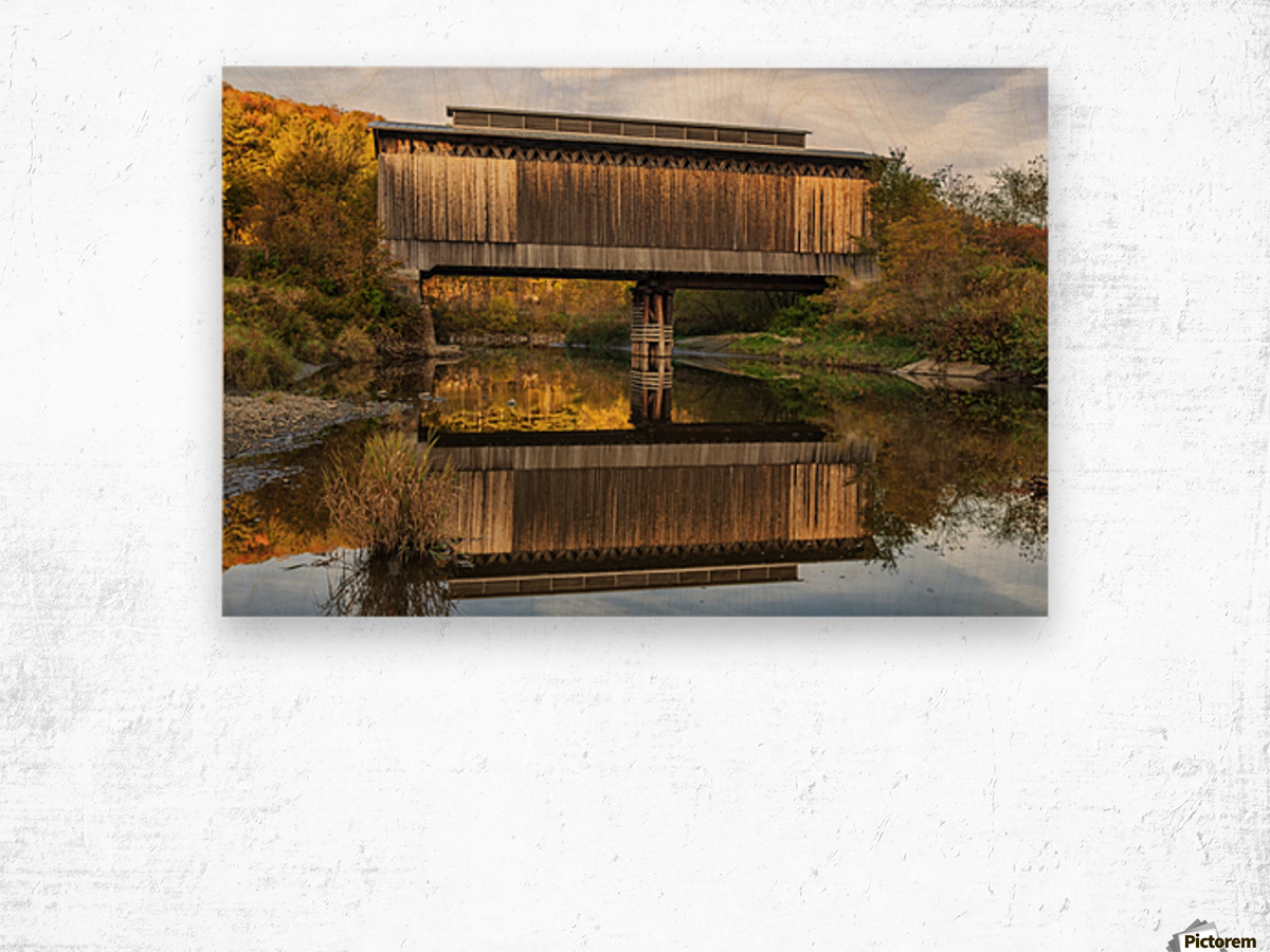 Fisher covered railroad bridge over Lamoille River in autumn; Wolcott, Vermont, United States of America Wood print