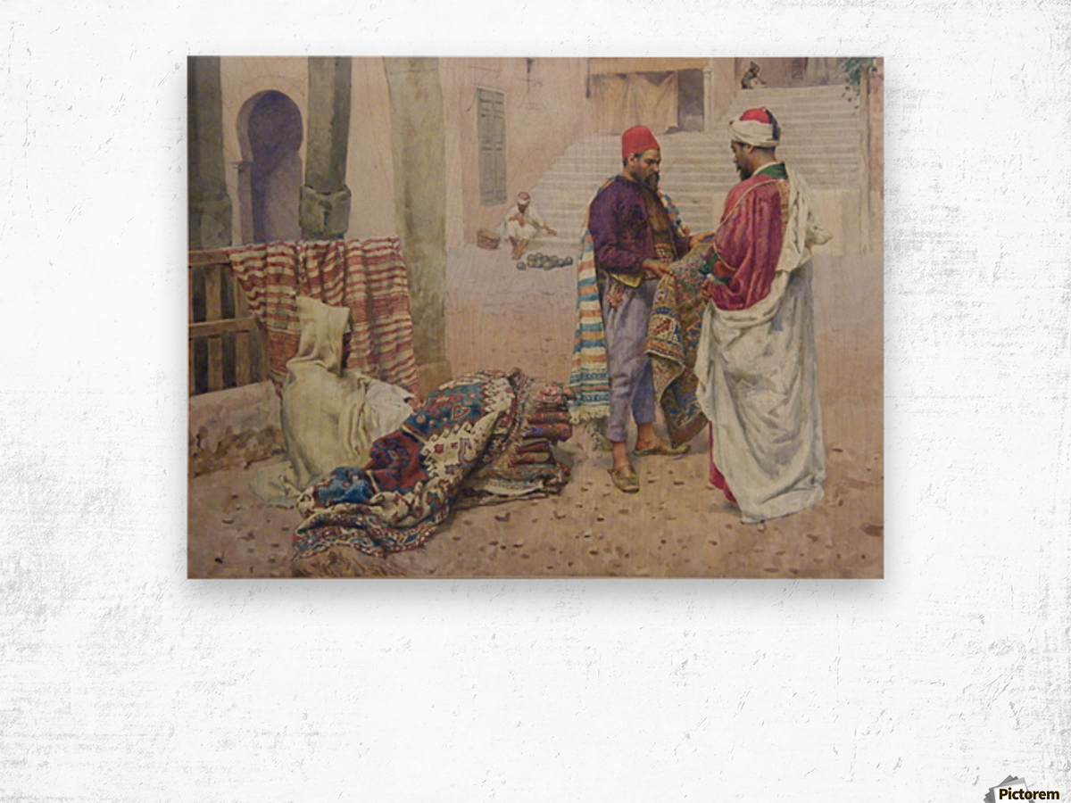 Selling carpets in the market Wood print