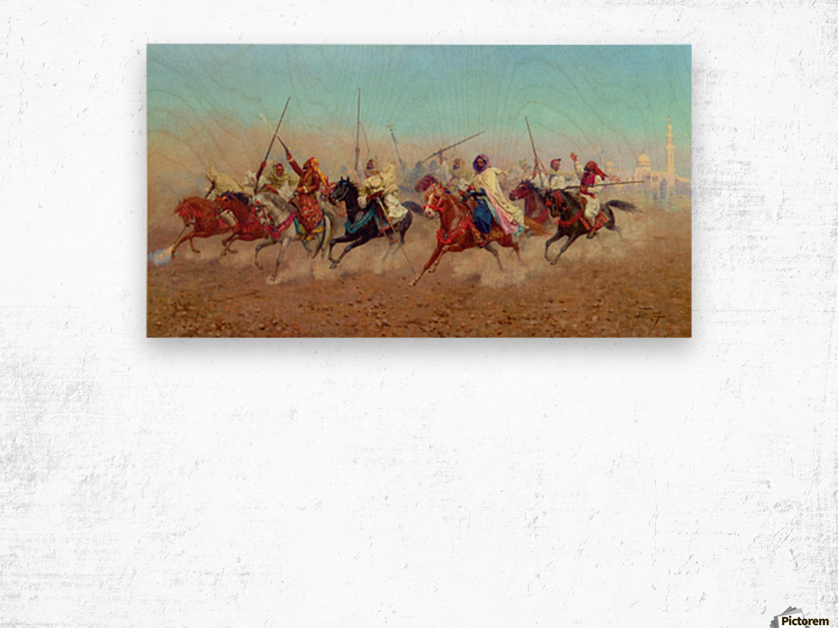 Horsemen Outside The Northern Cemetery Wood print