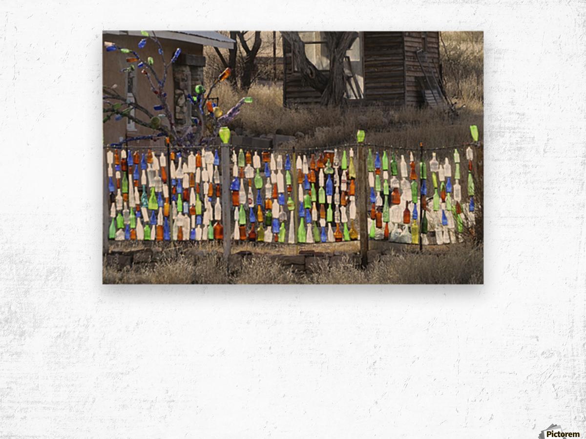 Turquoise Trail - Glass bottles in Golden 2VP Wood print