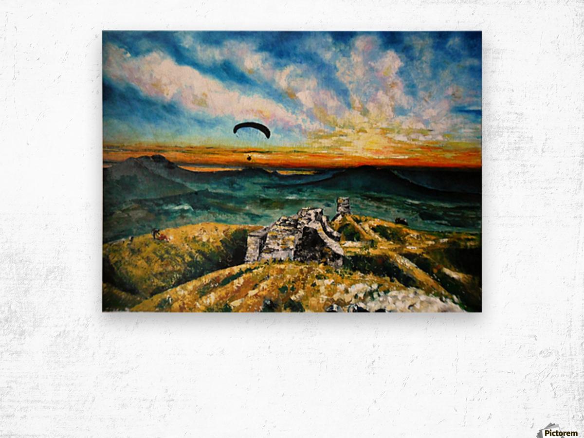 Paragliding Wood print