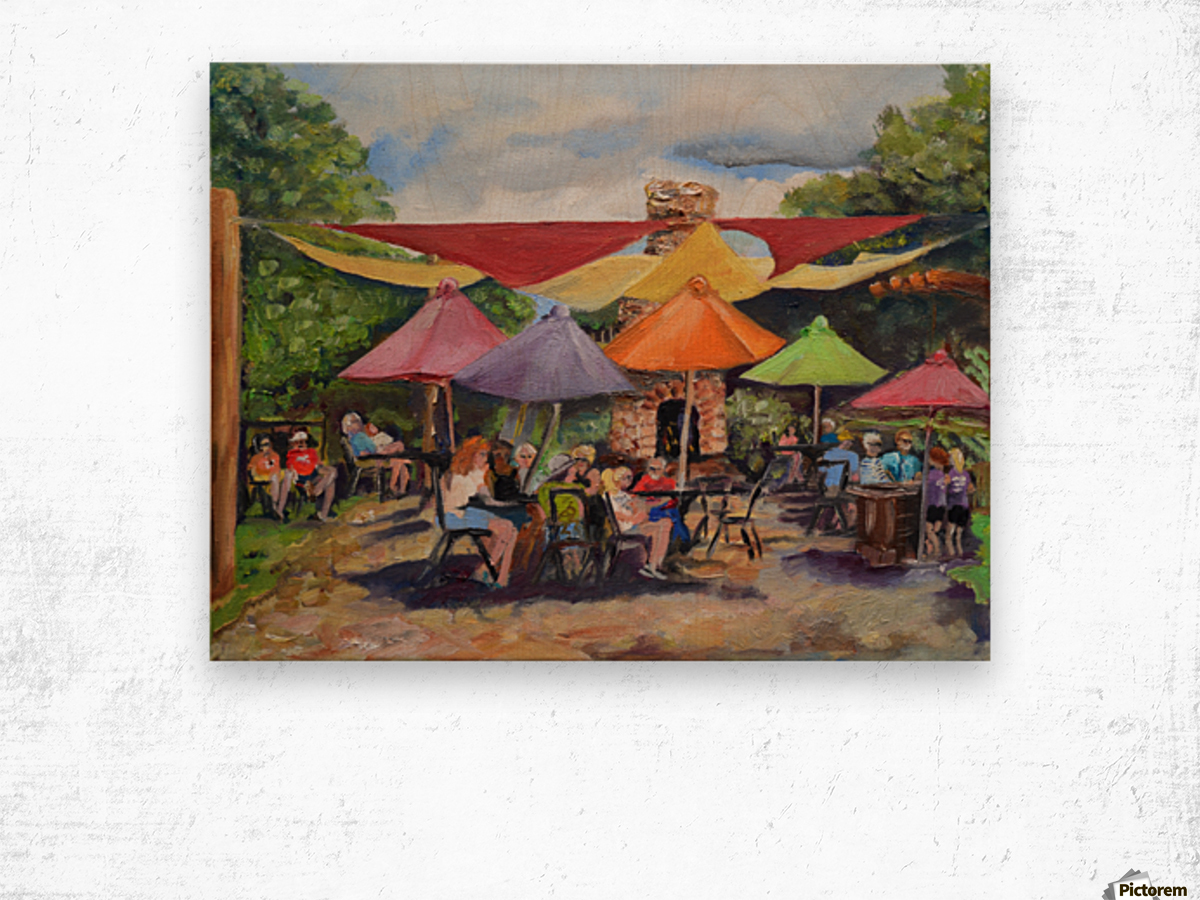 Under The Umbrellas At The Cartecay Vineyard - Crush Festival  Wood print