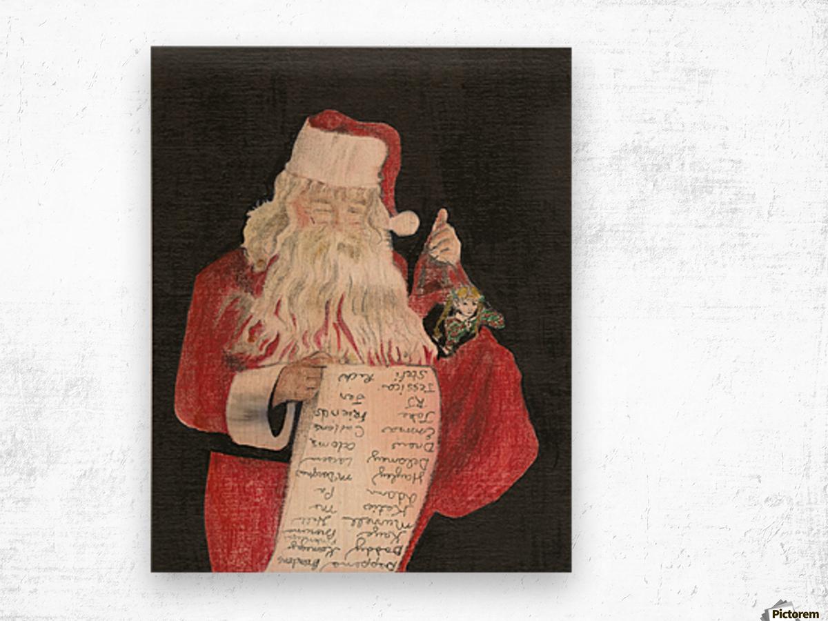 Santa Checking His List Wood print