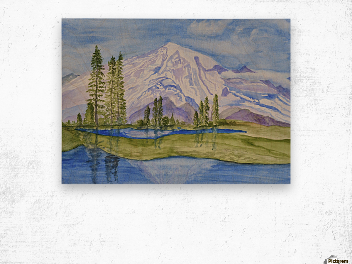 Snow Covered Mountain Wood print