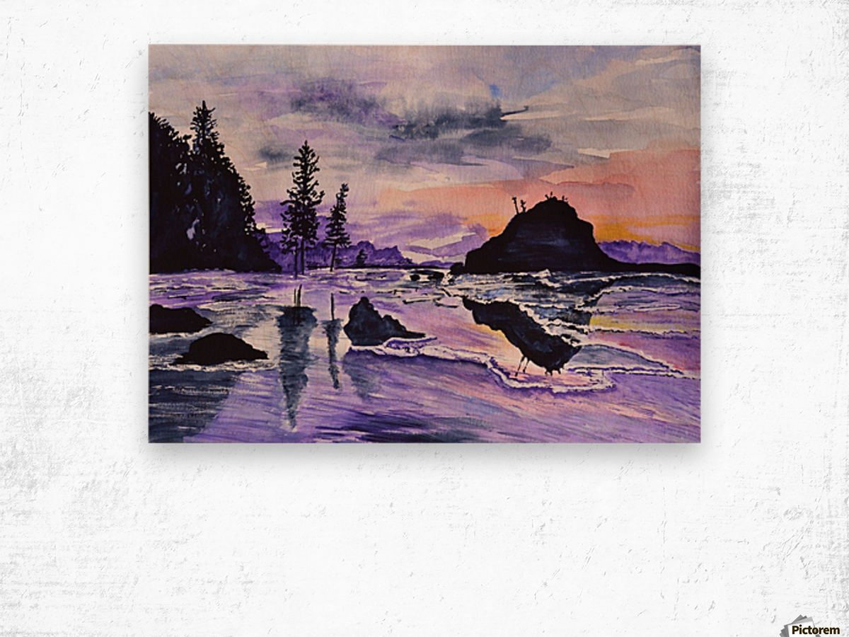 Sunrise Reflection at Second Beach Wood print