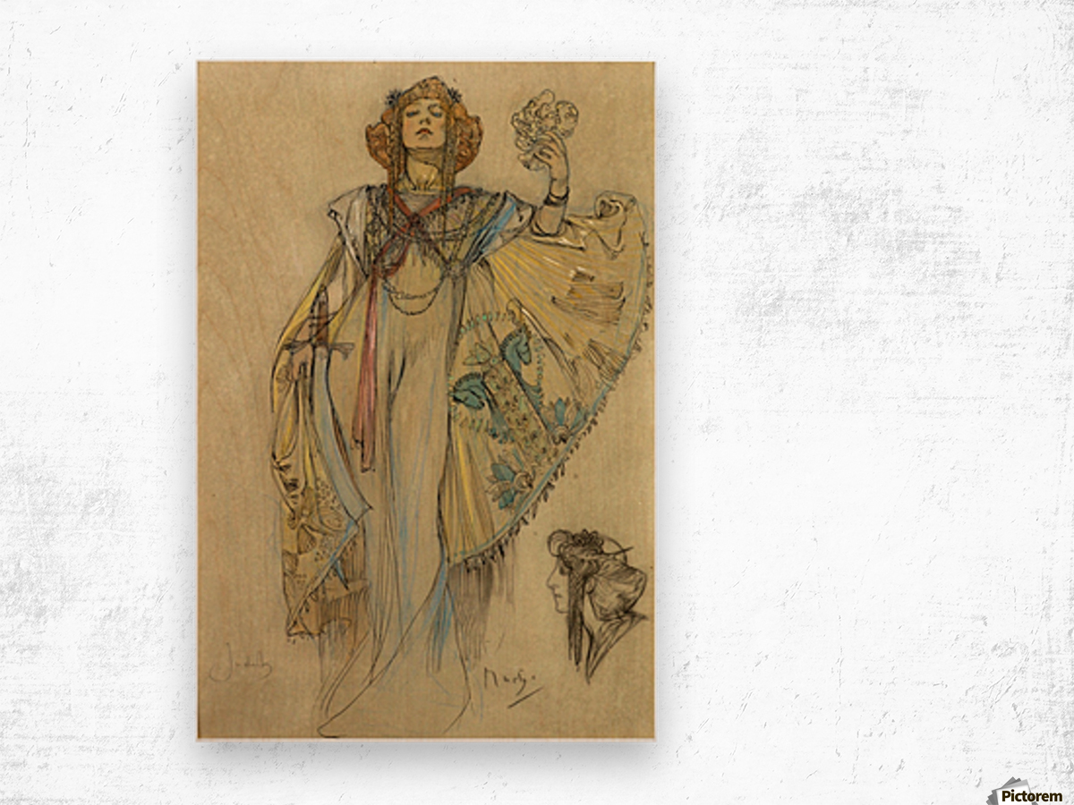 Woman in blue dress Wood print