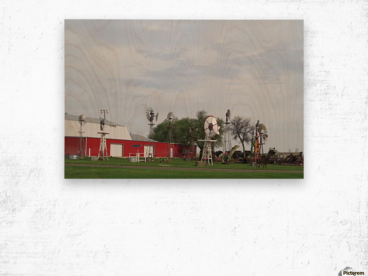 Windmills in Elk City, OK Wood print