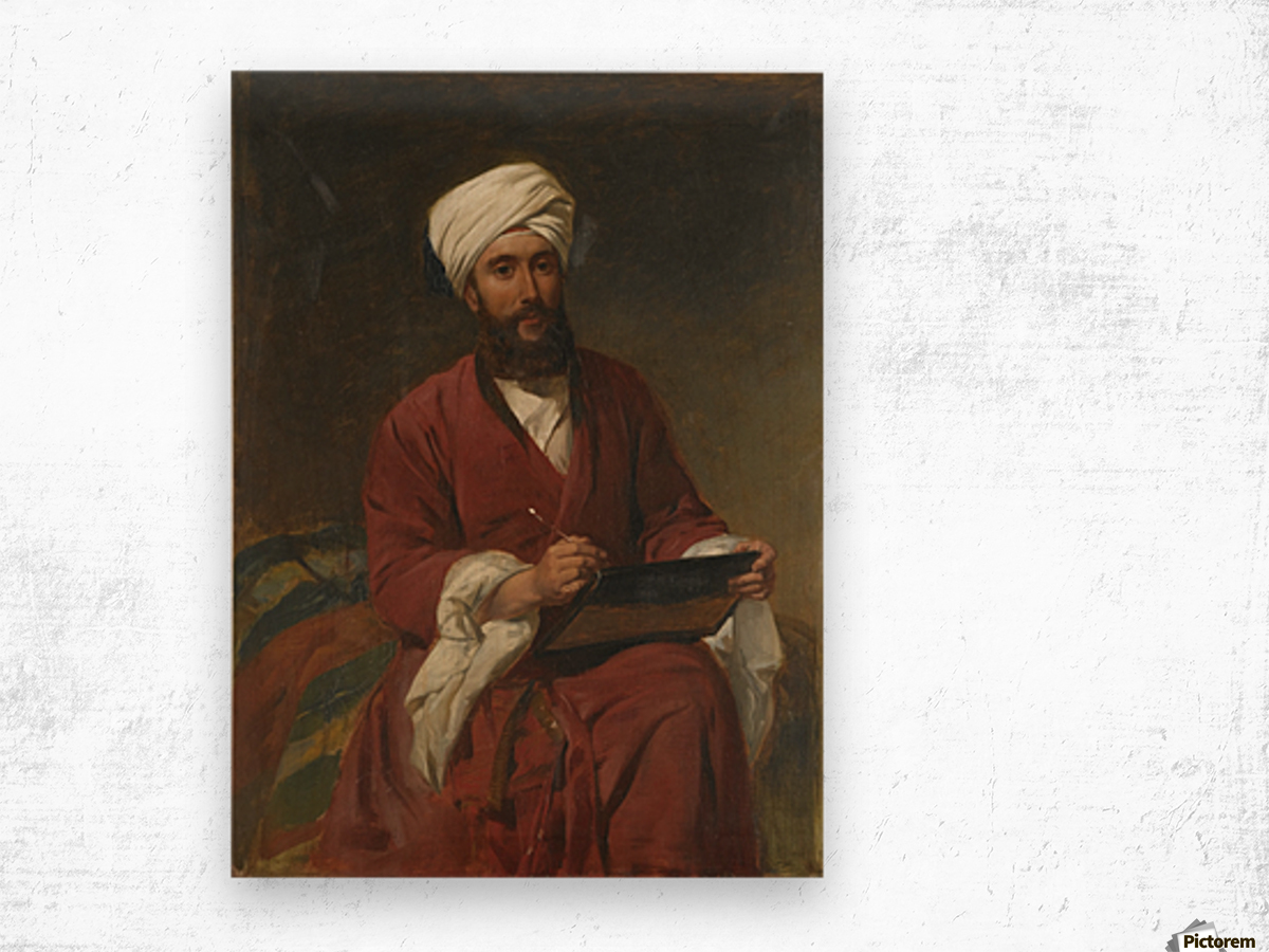 An Oriental man writing Wood print